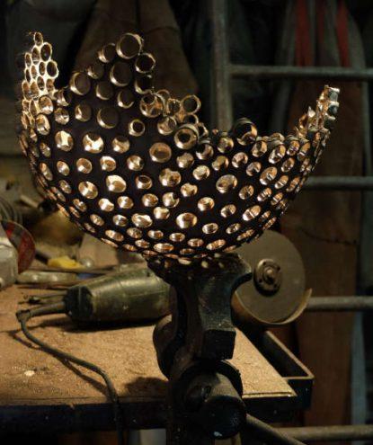 Lampe Billie étape de travail2 Bronze et verre C.Losange metamagma.be